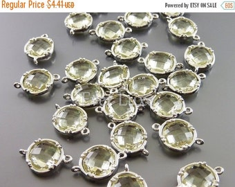 15% OFF 2 lemon yellow 10mm faceted glass connectors, glass beads, jewelry / jewellery supplies 5014R-LM-10 (bright silver, lemon, 10mm, 2 p