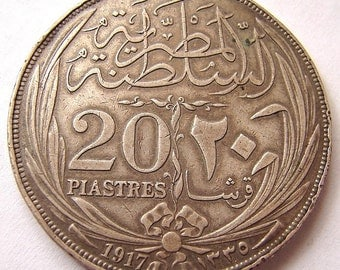 EGYPT 1917 British Protectorate Sultan Hussein Kamil 20 PIASTRES Large Silver Crown large COIN
