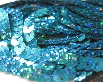 3 yards teal aqua turquoise sequins trim 6mm sparkling for sewing flip books scrapbook costumes dance ship from USA
