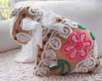SWEETEST Vintage Chenille PUPPY DOG Pillow With Bow