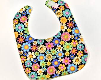Baby Girl Bibs Colorful Flowers Baby Easter Bib Baby Accessories Infant Baby Bib, Drool or Nursing