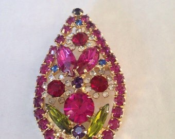 Juliana Bold Red Magenta Flower Brooch Pendant