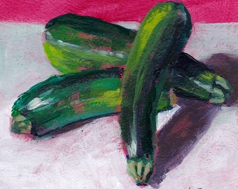 Original Still Life painting - three zucchinis