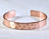 Hammered Copper Cuff Bracelet with Stars - BR877