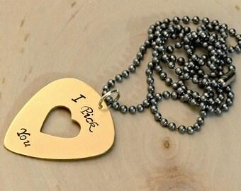 Bronze guitar pick pendant I pick you with heart cut - NL107