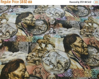 Gorgeous American Indian Nickel Fabric--Hard Find--LAST Piece -- 40-70% off Patterns n Books SALE