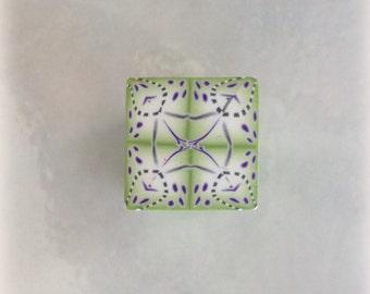 Polymer Clay Kaleidoscope Cane Lime Green, Purple, White No. 2186
