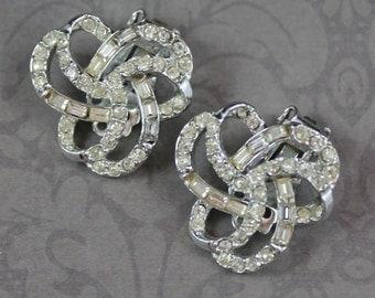 Vintage Rhinestone Swirl Silver Clip On Earrings