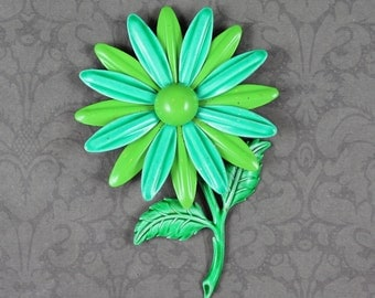 Vintage Lime Green and Turquoise Enamel Flower Power Large Brooch