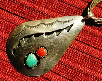 Southwest Sterling Silver Turquoise Coral Shadow Box 10 Strand Liquid Silver Pendant Necklace