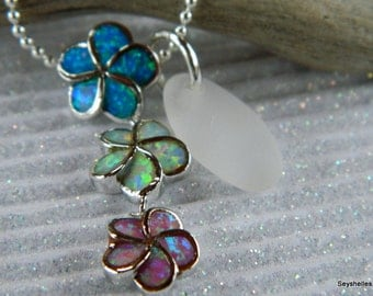 Fire Opal Flower Pendant with Frosty White Colored Sea Glass