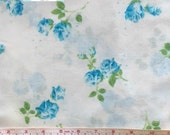 Full Vintage Flat Sheet with Blue Shabby Floral