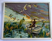 Vintage 1950s Paint By Number Duck Hunters