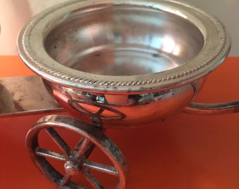 Vintage Silver Plated Decorative Wagon Cart Great for Dinner Party Holiday