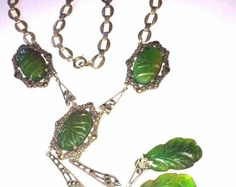 CIJ Christmas July SALE Amazing Art Deco Sterling Silver Carved Green Jade Marcasite Lavaliere Vintage Necklace Art Deco Jewelry