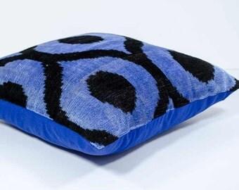 15x15, blue black ikat, blue ikat, blue velvet ikat, velvet ikat pillows velvet ikat, velvet pillows, luxury pillows, blue cushions, ikats
