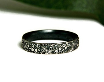 Sterling Silver Stacking Band, Fancy Filigree Band, Wedding Band, Oxidized Silver Band, Vintage Style
