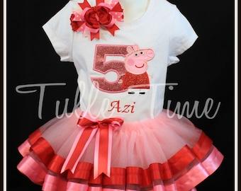 2nd 3rd 4th 5th  Peppa pig  birthday bodysuit top red pink ribbon tutu dress size 18m 24m 2t 3t 4t 5t 6 7/8