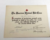 1946 WWII Red Cross Award Document. American National Red Cross. Recognition of Meritorious Personal Service. President Harry Truman