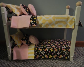 "American Made 18"" Doll BUNKBED Bunk Bed Fits AMERICAN GIRL Dolls..bumble bee insect flower black pink yellow holiday shopping trendy limited"