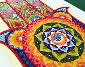 Instant Download Printable Art. Sand Art Hamsa Hand Mandala.