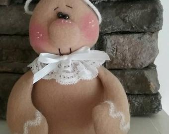 Gingerbread Doll, Christmas Ornament, Holiday Decoration, Gingerbread Girl Ornie, Handmade Doll