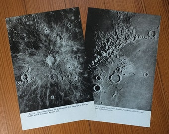 1946 MOON SURFACE LITHOGRAPHS lunar landscape with craters original vintage celestial astronomy prints - set of 2 prints