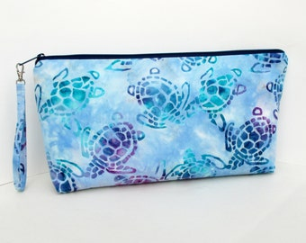 Large Zippered Project Bag Pouch, Batik Sea Turtles Purple, Knitting Wedge Bag
