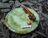 Dachshund Dog Jewelry Tray or Teaspoon rest Weiner Dog Doxie stoneware pottery