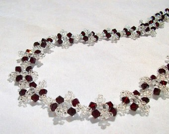 Garnet and Clear Crystals and Clear Glass Seed Beads Hand Beaded Necklace