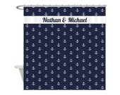 ANCHORS AWEIGH Personalized Kids Shower Curtain - Choose Your Color!