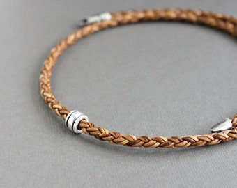 Mens Leather Necklace, Single Silver Bead, Mens Light Brown Braid Necklace
