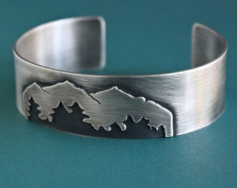 Mens Sterling Silver Cuff Bracelet, Mens Mountain Bracelet, Nature Jewelry