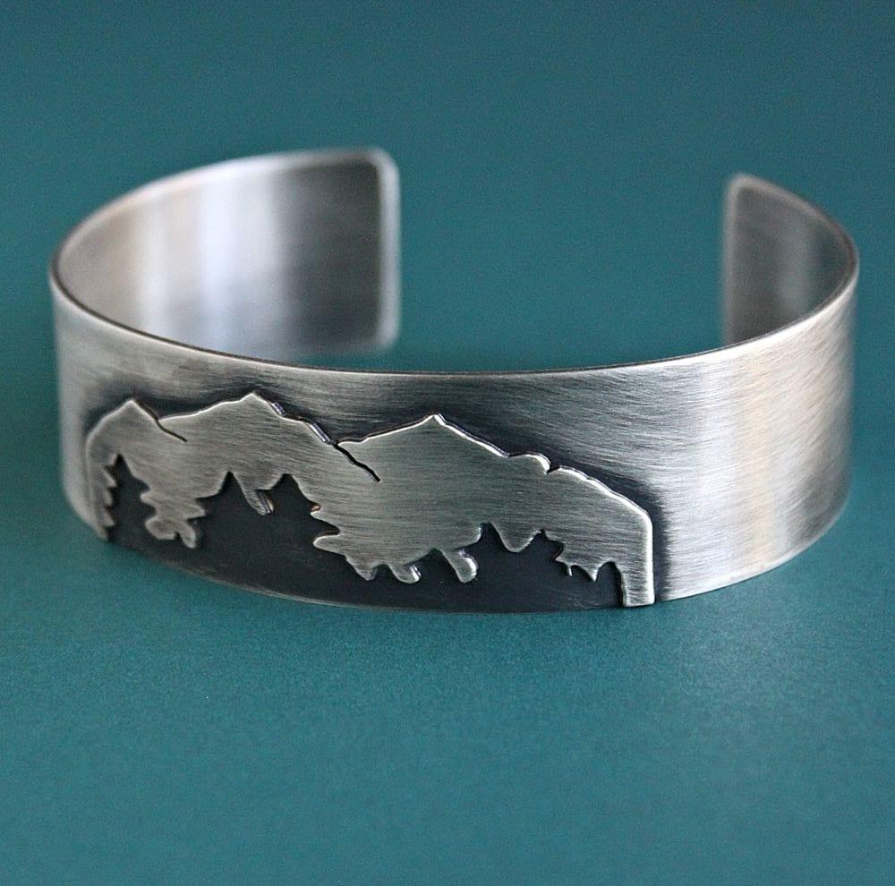 Mens Sterling Silver Cuff Bracelet Mens Mountain Bracelet