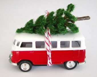 VW Bus Van with Tree on Top Christmas Ornament