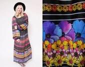 Reserved Vtg 70s Groovy Gottex Sheer Flower Peasant Sleeves Hippie Boho Woodstock Striped Maxi Dress S/M/L