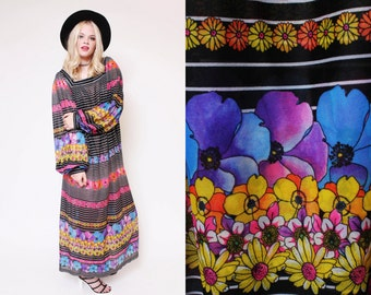 Vtg 70s Groovy Gottex Sheer Flower Peasant Sleeves Hippie Boho Woodstock Striped Maxi Dress S/M/L