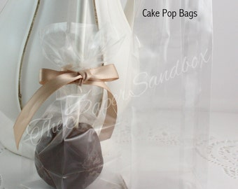 """Cake Pop Bags, 2""""x 1.5""""x5"""", Food Safe, Clear Candy Bags, Treat Bags, Birthday Favor Bags, Bridal Shower Favor Bags, Party Favor Bags"""