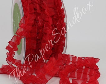 "Red Pleated Ribbon, Red Ribbon, 5/8"" wide, Sheer Red Trim, Sewing, Crafts, Valentine's Day, Christmas, Gift Wrapping, Costumes"
