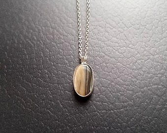 """Small Grey Abalone Shell Necklace, Suede Taupe Color, Simple Paua Shell Pendant, 17"""" long, Sterling Silver Jewelry"""