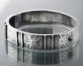 RESERVED FOR EBLUE Payment #3 of 3 - Victorian Bracelet Sterling Silver Bangle | 1886 Hallmarks | Hinged Antique Bracelet | Forget-Me-Nots