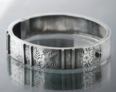 Victorian Bracelet Sterling Silver Bangle | 1886 English Hallmarked Silver | Hinged Antique Wedding Bracelet | Forget-Me-Nots Silver Bangle
