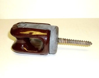 "antique brown glazed ceramic electrical insulator 5 1/2"" Tall with the screw"