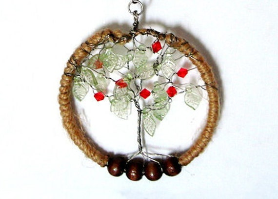 Tree Of Life Earrings Tree of Life Necklace Pendant Brown Wired Copper Jewelry Wire Wrapped Earring Earthy Jewelry Burlap jewelry Apple Tree