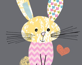 A4 Art Print- Kids Wall Art. Cute Rabbit in His Favourite Chevron Jumper.