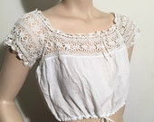 1910's Camisole with White Hand Crocheted Yoke and White Fine Cotton Bodice with Drawstring Cord at Neckline and Hemline