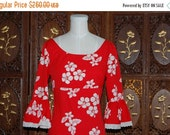 ON SALE Vintage 1970s French Red and White Cotton Floral Evening Dress UK8
