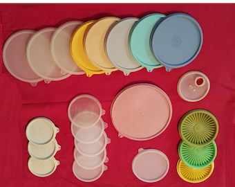 Vintage Tupperware Lids 6 Available, mold numbers 229, 227, 812, 215, 733, 603, 1928
