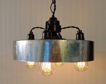 Modern INDUSTRIAL Hanging Chandelier with Chicken Wire & Dimmable Edison Bulbs