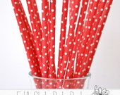CLOSEOUT SALE* Red Tiny Dot Paper Party Straws, Christmas Straws, Holiday Straws, Valentine Straws, 25 Straws Per Pack